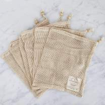 "Reusable-Produce-Bags | Organic Cotton Mesh Biodegradable Zero Waste Grocery Bag - Doubled Stitched Seams with Drawstring and Tare Weights (Medium 13"" x 11"")"