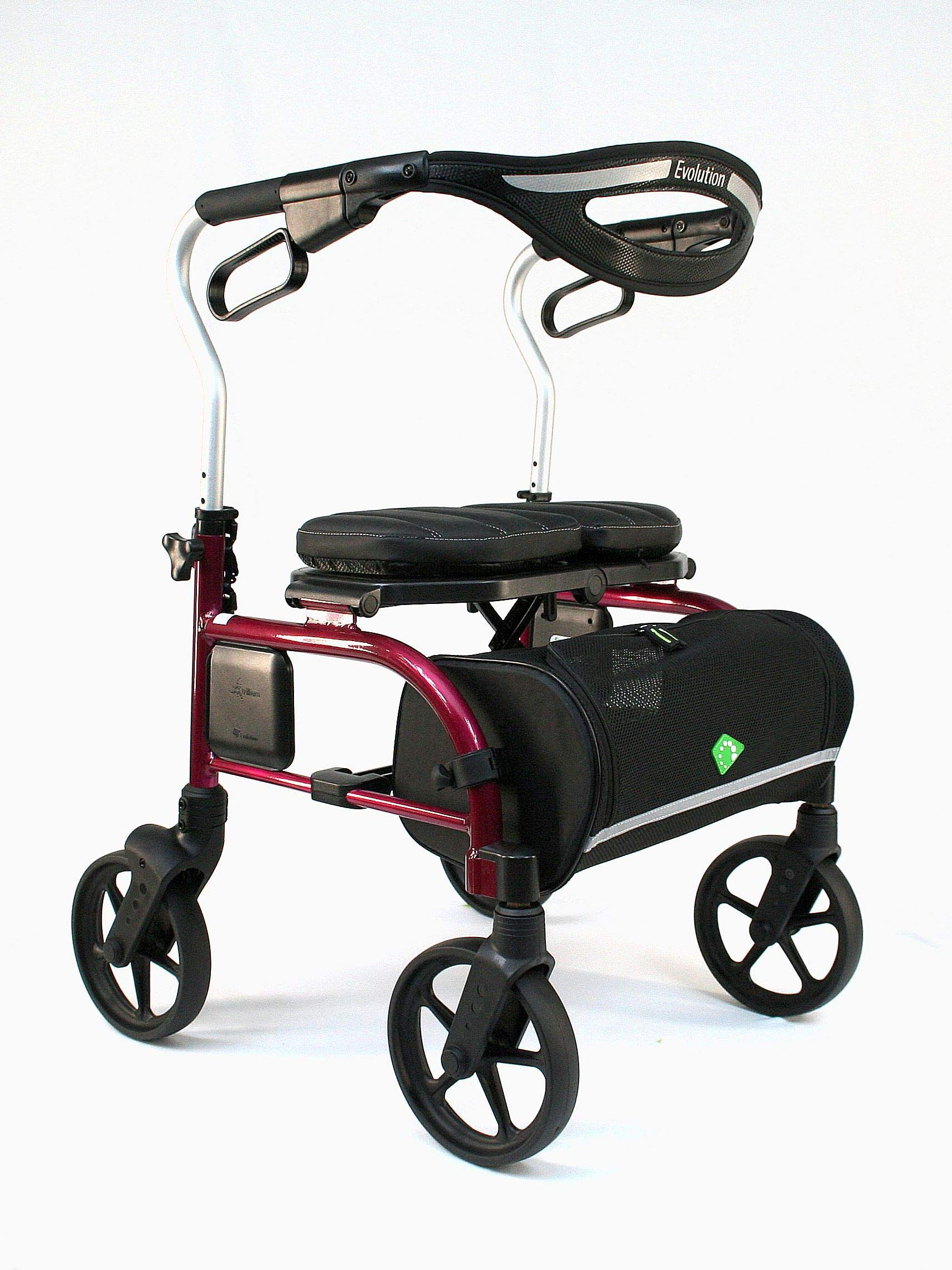 Evolution Trillium Lightweight Medical Walker Rollator with Seat, Large Wheels, Brakes, Backrest, Basket for Seniors Indoor Outdoor use (Shiraz Red, Regular)