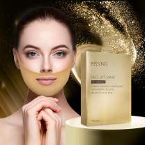 Face Lift Mask Gold Gel Collagen Face lift Double Chin Reducer Chin Up Patch V Up Contour Lifting Firming Moisturizing Mask V Shaped Slimming Face Mask