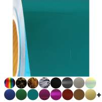 """Threadart Metallic Foil Aqua 20"""" Wide Heat Transfer Vinyl Film   By the Yard   Use with Silhouette, etc   Available in Over 30 Colors"""