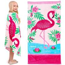Yayme! Flamingo Towel - Cotton Pink Flamingo Beach Towel for Girls - Perfect for Beach, Swimming Pool and Bath for Kids and Toddlers   Fun Summer Accessories and Toddler Beach Blanket Towels