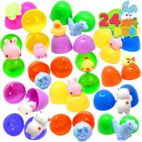24 Pieces Mochi Squishy Prefilled Easter Eggs (Toys Inside); Kawaii Foamy Stress Reliever Squishies for Easter Theme Party Favor, Easter Eggs Hunt, Basket Filler, Classroom Prize Supplies by Joyin Toy