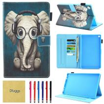 HD 8 Case, Case for Kindle Fire HD 8, Dluggs Slim Fit PU Leather Folio Stand Smart Wallet Case for Fire HD 8 8th Generation 2018 / 7th Generation 2017 / 6th Generation 2016, Music Elephant