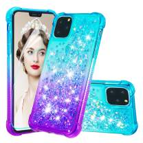 iPhone 11 Pro Max Case with Screen Protector for Girls Women,iPhone 11 Pro Max Glitter Bling Flowing Quicksand Liquid Shockproof Cushion Protective Case for iPhone 11 Pro Max Gradient Blue/Purple