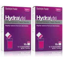 Hydralyte Electrolyte Hydration Powder, rehydrates Faster Than Water Alone, Berry, 10Count, 2Count
