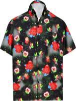 LA LEELA Men's Hawaiian Shirt Casual Beach Theme Party Aloha