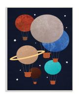 Stupell Industries Hot Air Balloon Planets Wall Plaque Art, Proudly Made in USA