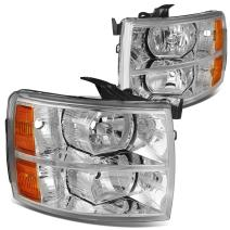 DNA Motoring HL-OH-CSIL07-CH-AM Headlight (Driver and Passenger Side) [For 07-14 Chevy Silverado],Chrome amber