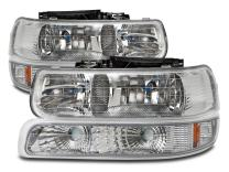 HEADLIGHTSDEPOT Chrome Housing Halogen Headlights Compatible with Chevrolet Silverado 1500 HD 2500 3500 Suburban Tahoe Includes Left Driver and Right Passenger Side Headlamps Signals And Corners
