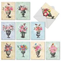 10 All Occasion 'Blooming Urns' Note Cards with Envelopes 4 x 5.12 inch, Blank Greeting Cards with Colorful Flowers in Decorative Vases, Stationery for Thank You, Mother's Day, Sympathy M6585TYB