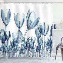 """Ambesonne Flower Shower Curtain, Bunch of Different Size Flowers with X-Rays Complex Structures of Mother Nature Art, Cloth Fabric Bathroom Decor Set with Hooks, 84"""" Long Extra, Teal White"""