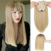 """Lansigreen Hair Top with Bangs Pieces 14"""" Straight Hairpieces Clip in Silk Base Crown Synthetic Topper Extensions for Loss Thinning Hair Women Ginger Brown mix Bleach Blonde"""