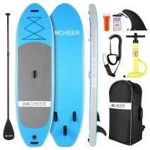 """ANCHEER Inflatable 10""""×32""""×6"""" Stand Up Paddle Board with Premium SUP Accessories, Backpack, Leash, Adjustable Paddle and Hand Pump, Bottom Fin for Paddling, All-Round Board for Youth & Adult"""