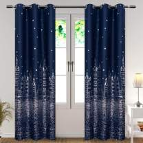 WUBODTI Blackout Navy Blue Boys Room Curtains 2 Panels Baby Room Darkening Window Treatments Curtains Thermal Insulated Grommet Drapes and Curtains for Kids Bedroom Nursery Living Room 63 Inch Length
