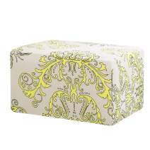 TIKAMI Ottoman Slipcovers Spandex Elastic Stretch Rectangle Folding Storage Covers Removable Footstool Protect Oversized Footrest Covers(Yellow Pattern)