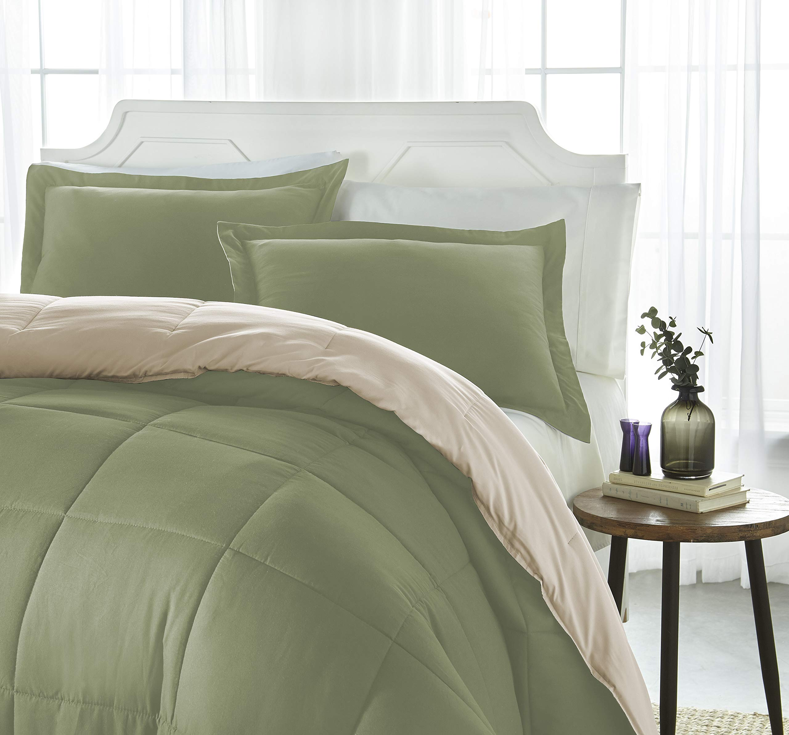 iEnjoy Home Collection Down Alternative Reversible Comforter Set -Queen -Sage/Ivory