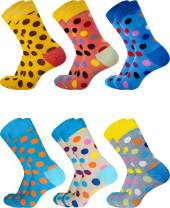 SIXDAYSOX Dress Socks for Men Funny Socks Patterned Novelty Crazy Socks Women Cotton Crew Socks Fashion 6 Pack