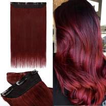 S-noilite 18inch One Piece Clip in Human Hair Extensions 3/4 Full Head 5 Clips Invisible Remy Hair Clip-in Extension Long Thick Straight For Women Clipin Hair 50g #99J Wine Red