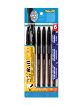 Promarx TC Ball Pro Grip Stick Pen, 1.0 mm, Black Ink, 6-Count