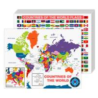 """All Countries and Flags of The World Educational Map   Great Learning Tool for Kids and Adults   80lb Cardstock (216gsm)   8.5 x 11""""   10 per Pack"""