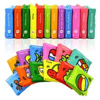 Kingtree Baby First Nontoxic Soft Cloth Book Set, Infants Early Education Fabric Books, Activity Cloth Book Rainbow Set for Toddlers - Pack of 12