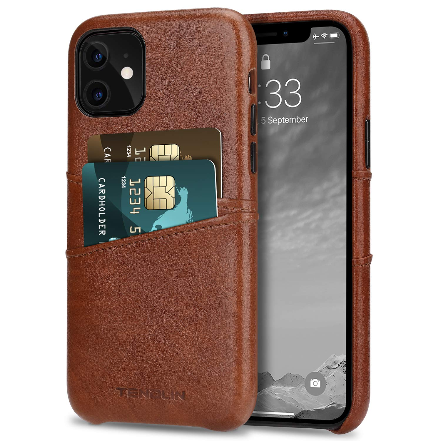 TENDLIN Compatible with iPhone 11 Case Wallet Design Premium Leather Case with 2 Card Holder Slots (Brown)
