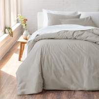 "Welhome Cozy 100% Cotton Percale Washed Reversible Duvet Cover Set - Full/Queen Size (Castlerock)- 88"" x 92"" - Cool - Lightweight - Supersoft - Breathable - Machine Washable"