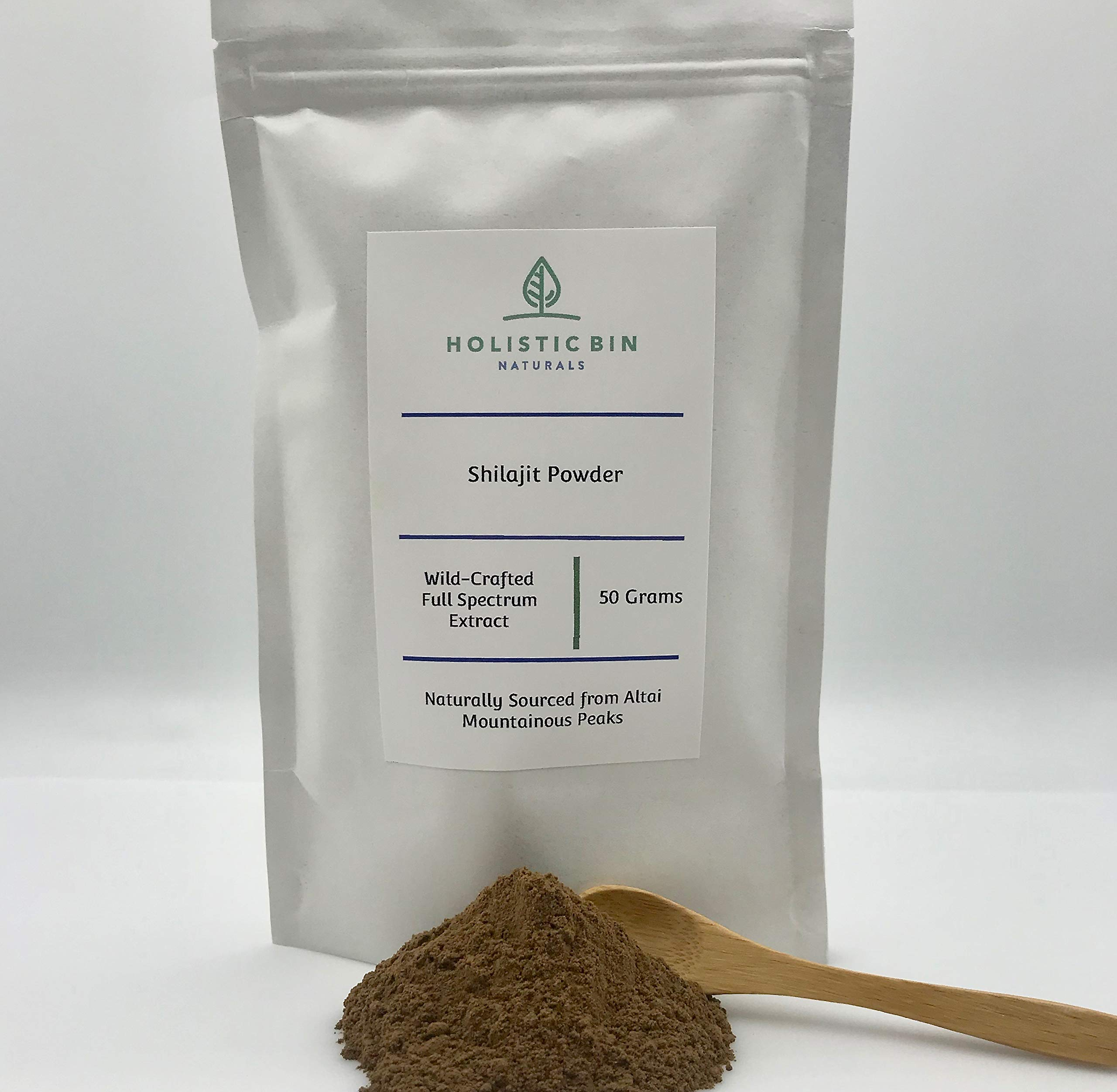 Raw Shilajit Powder by Holistic Bin - Wildcrafted, Full Spectrum Extract - (50 Servings) Natural Organic Fulvic Acid and Trace Minerals - for Natural Weight Loss, Nootropic & Potent Adaptogen