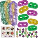 Mardi Gras Party Accessories - 48 Shiny Masks, 144 Beads Beaded Necklaces (Green, Purple, Gold), 144 Plastic Coins, 144 Temporary Tattoos, Great for Party Favors, Parades, Decorations, Costumes, Dress Up & Celebrations