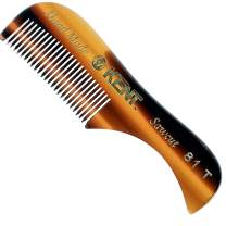 Kent A 81T X-Small Gentleman's Beard and Mustache Pocket Comb, Fine Toothed Pocket Size for Facial Hair Grooming and Styling. Saw-cut of Quality Cellulose Acetate, Hand Polished. Hand-Made in England