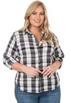 CAMIXA Women's Gingham Shirt Plus Size Checkered Casual Curvy Button Down Plaid