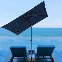 SERWALL 7.5x7.5ft Square Patio Umbrella, Market Table Umbrella with 8 Sturdy Ribs Outdoor Umbrella with Push Button Tilt for Lawn, Garden, Deck, Backyard & Pool (Navy)