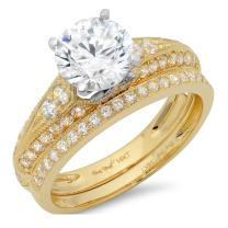 Clara Pucci 1.90 CT Round Cut CZ Pave Halo Classic Designer Solitaire Ring Band Set 14k Yellow White Gold