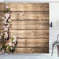"""Ambesonne Rustic Shower Curtain, Spring Flowering Tree Branch on Weathered Wooden Blooming Orchard Image, Cloth Fabric Bathroom Decor Set with Hooks, 84"""" Long Extra, Pink Brown"""