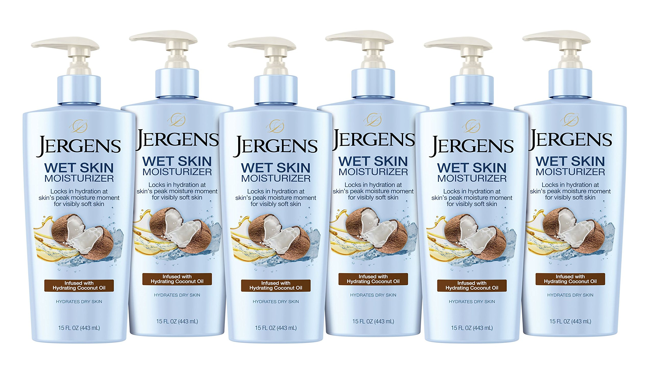Jergens Wet Skin Body Moisturizer with Refreshing Coconut Oil, 15 Fl Oz (Pack of 6) (Packaging May Vary)