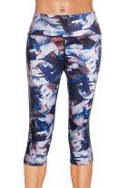 Yoga Leggings High Waist Capri Running Workout Clothes Quick Dry Fitness Pants (Blue, L)