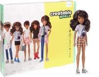 Creatable World Deluxe Character Kit Customizable Doll, Brunette Wavy Hair, Multi Color