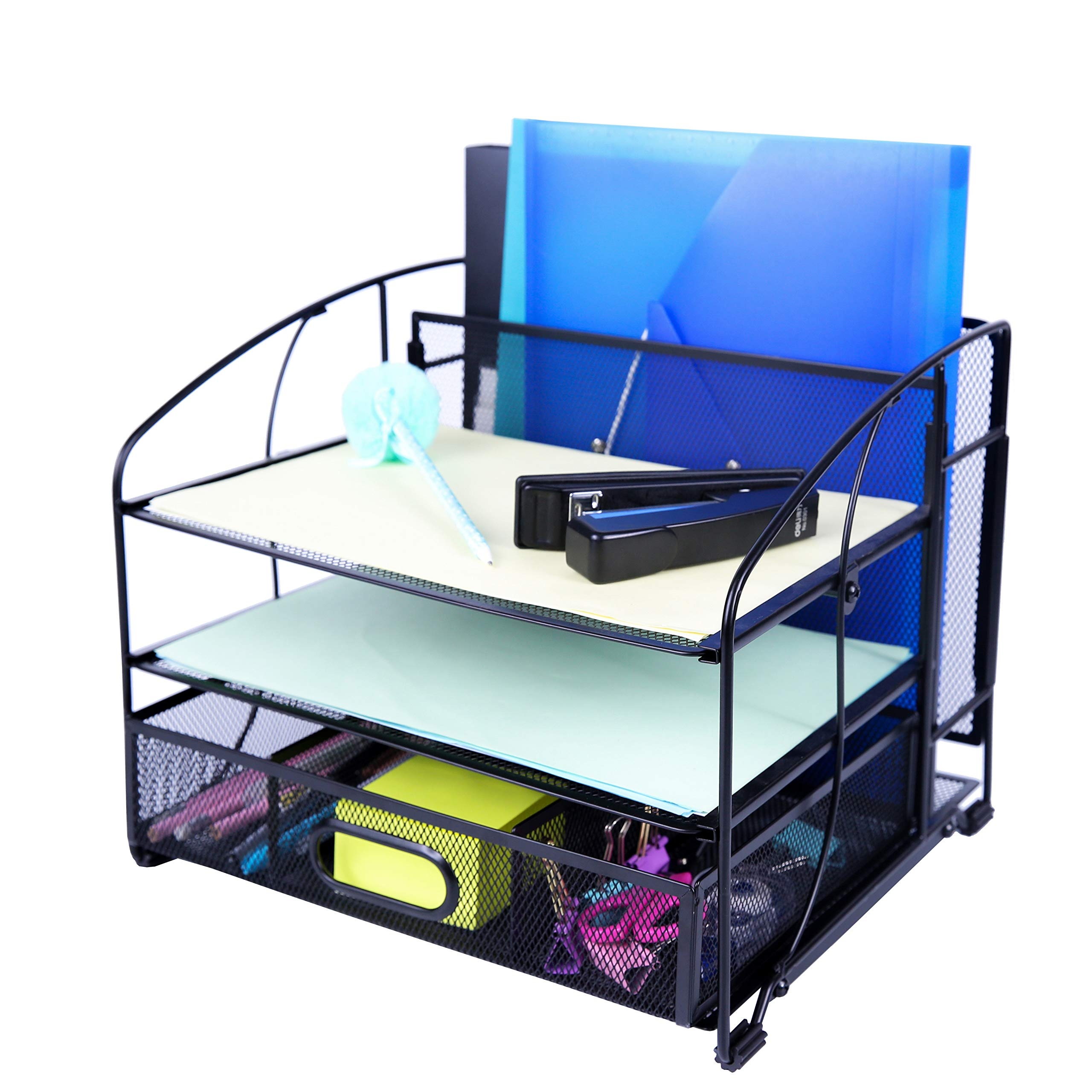 Exerz Mesh Desk Organizer Office Supplies 3 Trays/Desktop File Holder with Sliding Drawer and Hanging File Holder/Vertical Upright Section for Office Home Multifuntional - Black
