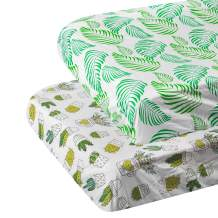 """ALVABABY Pack n Play Baby Play Playard Sheets, 2pcs 100% Organic Cotton,Large 27x39x4"""",Soft and Light,Portable Crib Sheet for Boys and Girls Player Matteress 2PSCZ02"""