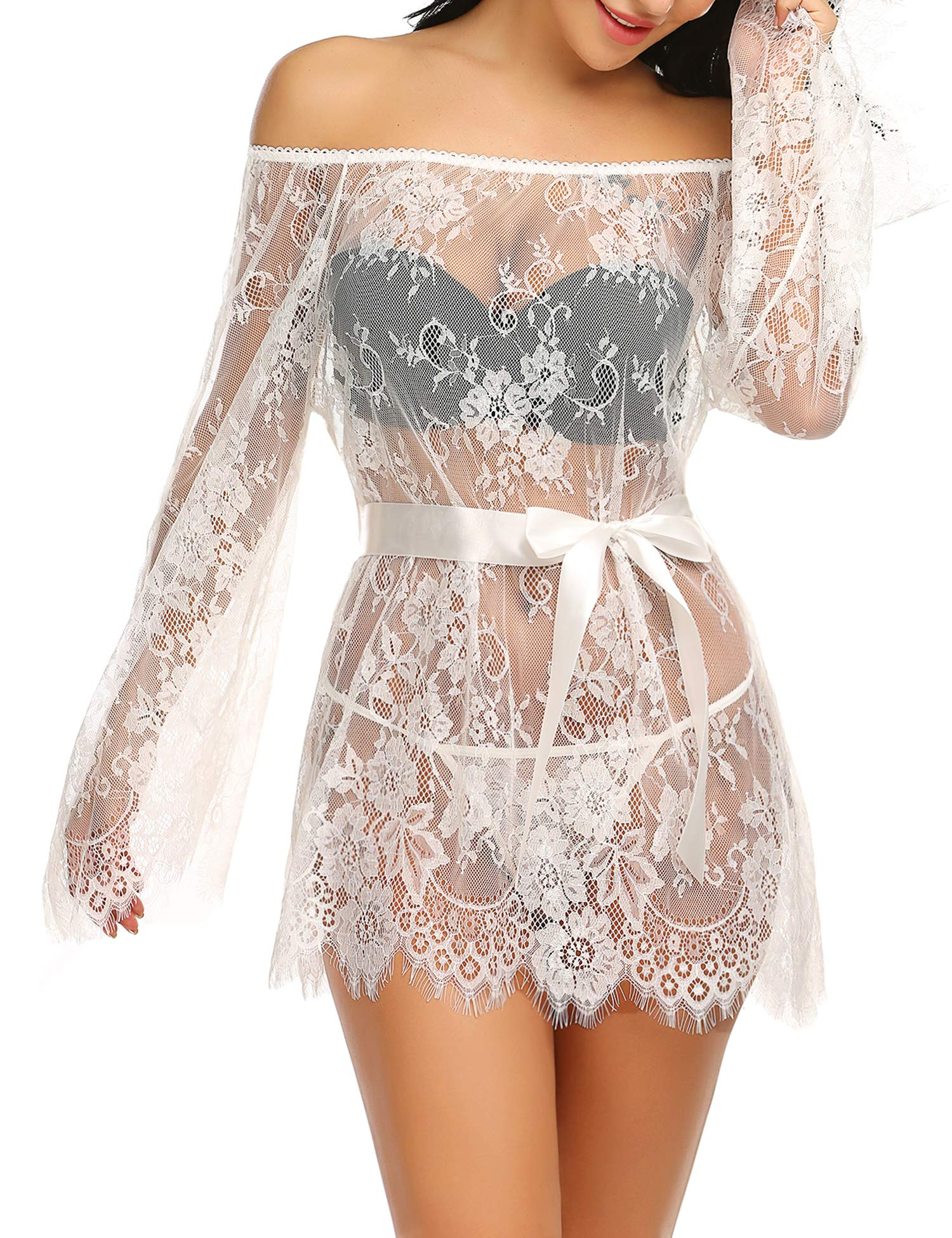 Hotouch Women Lingerie Dress Sexy Lace Chemise Sleepwear Smock Lingerie Off Shoulder Cover Up with Belt