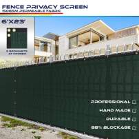 Windscreen4less Heavy Duty Privacy Screen Fence in Color Solid Green 6' x 23' Brass Grommets w/3-Year Warranty 150 GSM (Customized Size)