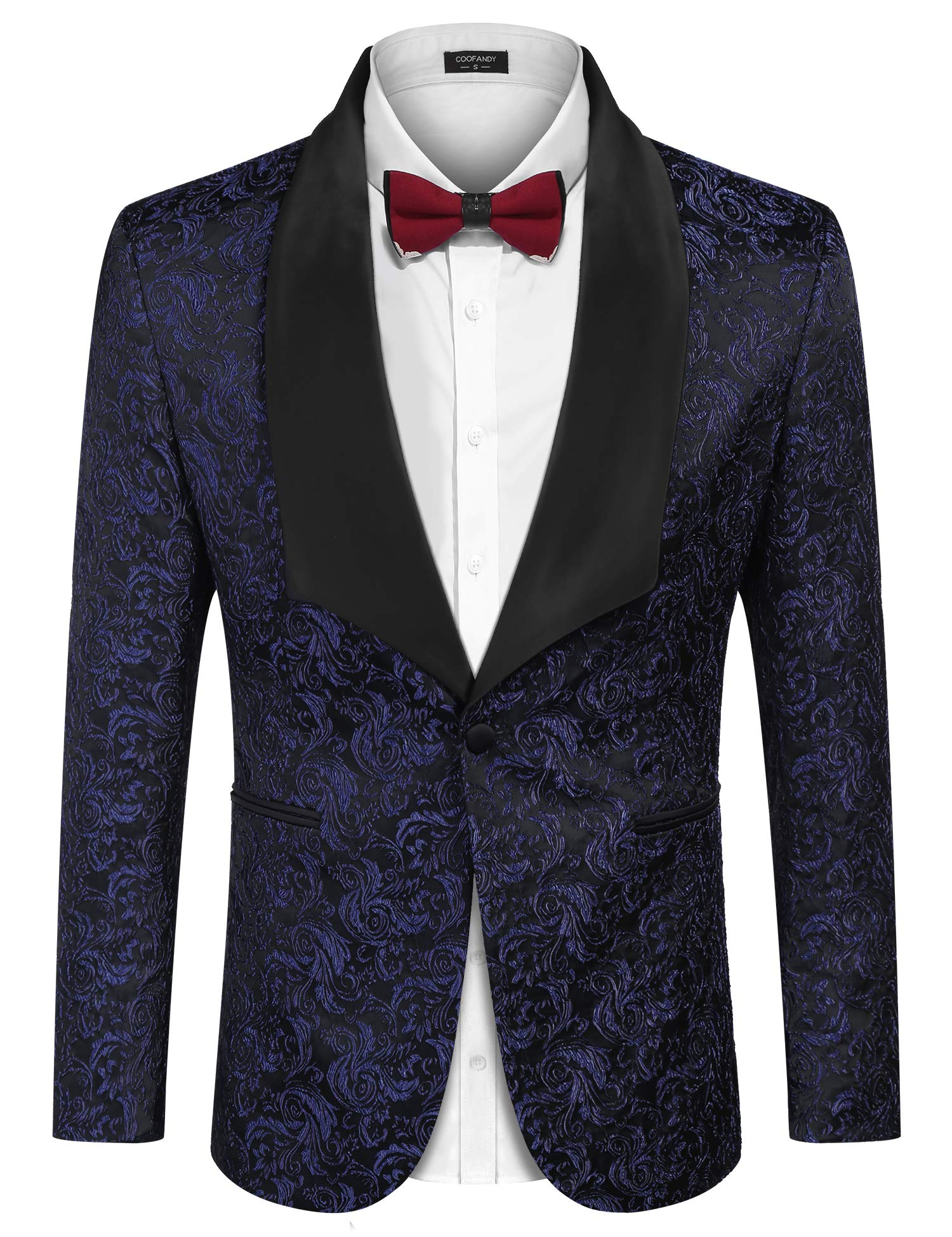 COOFANDY Men's Floral Party Dress Suit Stylish Dinner Jacket Wedding Blazer Prom Tuxedo