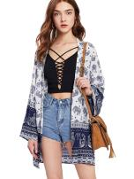 Milumia Women's Vintage Floral Printed Shawl Beach Cover up Cardigan Kimono