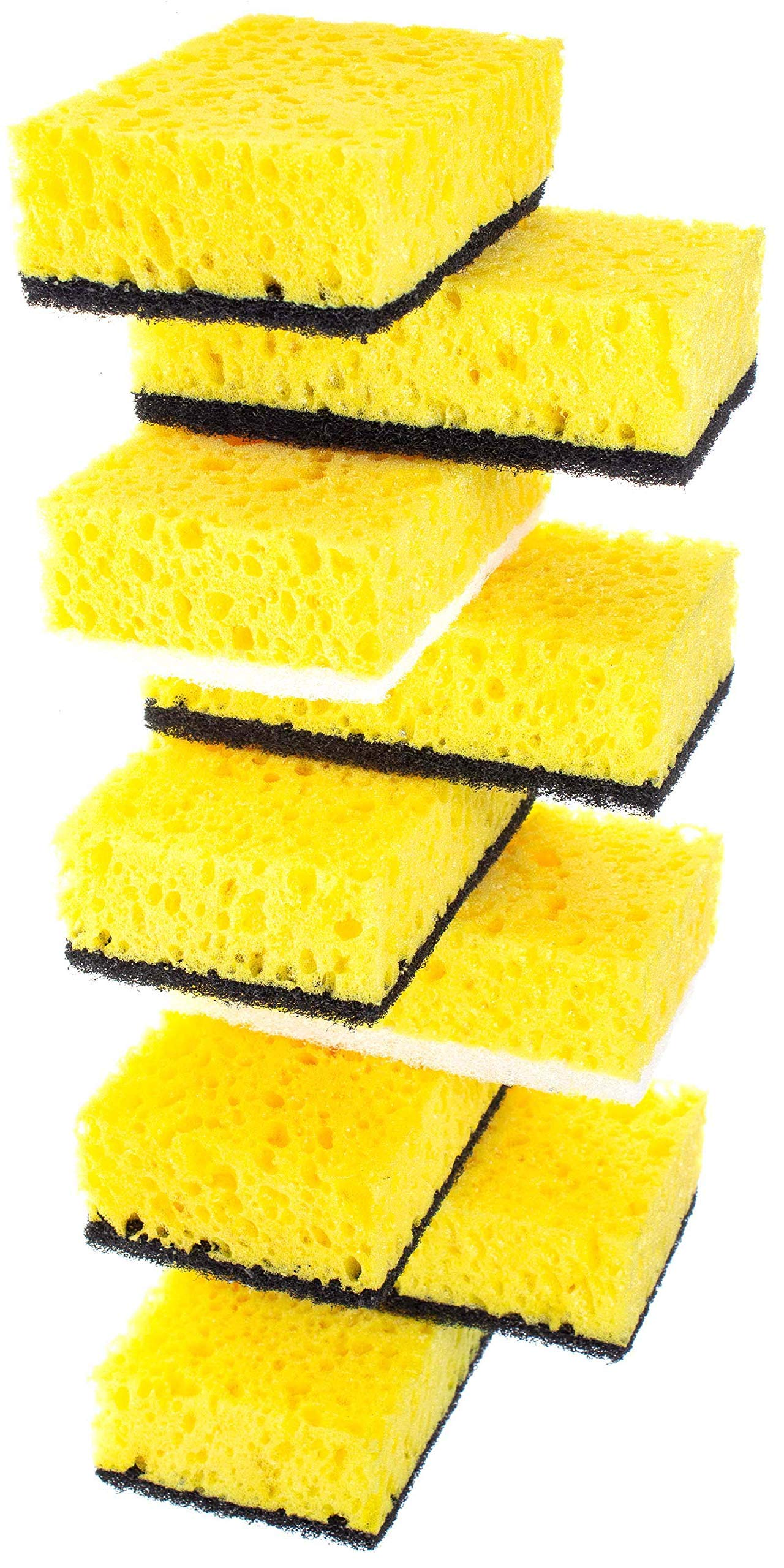 Okleen Yellow Multi Use Scrub Sponge. Made in Europe. 9 Pack, 4.3x2.8x1.4 inches. Odorless Heavy Duty and Non Scratch Fiber. Durable and Delicate Scrubber for Hard Dirty Surfaces in Daily Cleaning