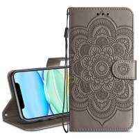 HianDier Wallet Case for iPhone 11 Card Holder Case Kickstand Flip Cover Embossed Mandala Flower Lanyard Protective Soft PU Leather Cover Case for 2019 Release iPhone 11 iPhone XI, Gray