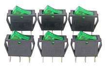 RuoFeng 15A 250V/20A 125V 3 Pin AC Rocker Switch KCD3 Switch 6 Pcs Green