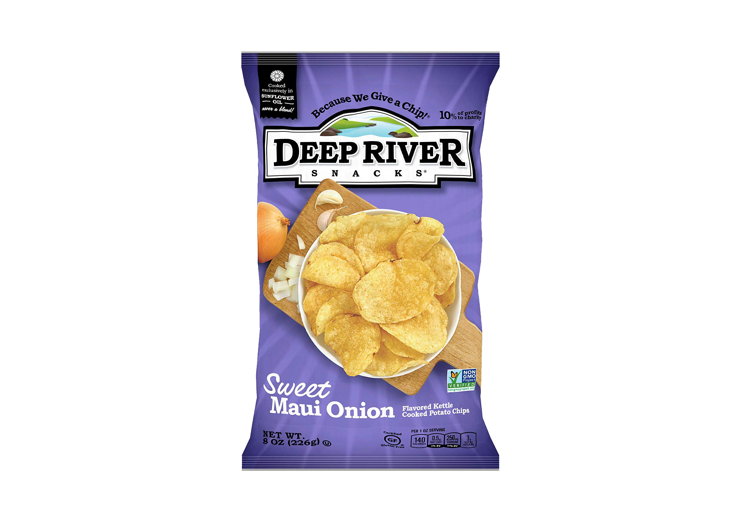 Deep River Snacks Sweet Maui Onion Kettle Cooked Potato Chips, Non GMO, 8 Ounce (Pack of 12)