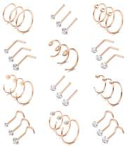 Thunaraz 36Pcs 20G Stainless Steel Nose Ring Hoops Nose Studs Screw Piercing for Men Women CZ Inlaid Lip Eyebrow Tragus Jewelry Set