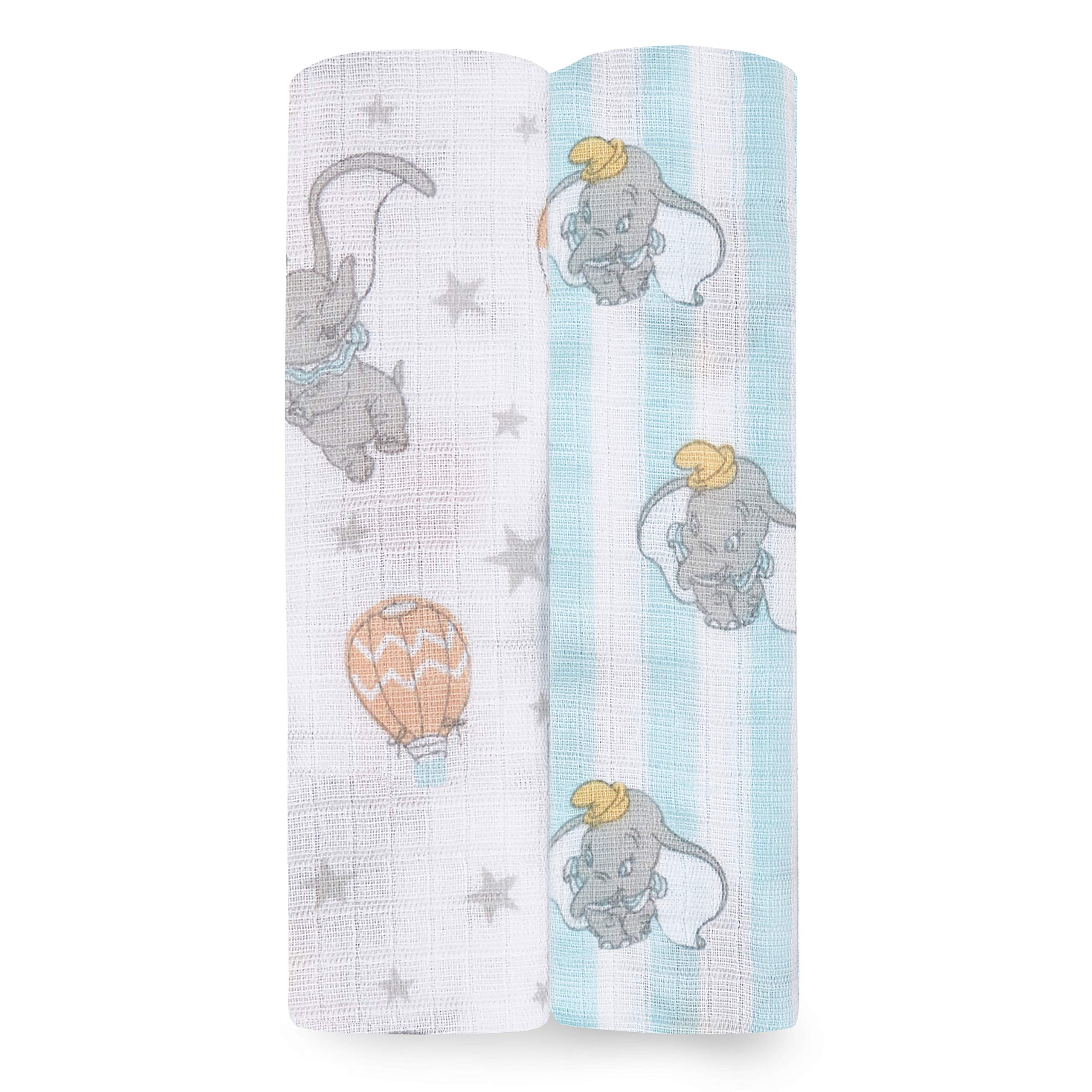 Aden by aden + anais Swaddle Blanket, Muslin Blankets for Girls & Boys, Baby Receiving Swaddles, Ideal Newborn Gifts, Unisex Infant Shower Items, Toddler Gift, Wearable Swaddling Set, 2 Pack, Dumbo