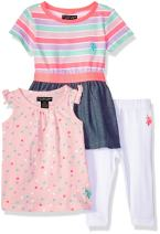 U.S. Polo Assn. Baby Girl's Knit Top, Fashion Top and Legging Set Pants